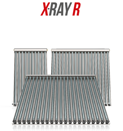 Solar thermal collectors with forced X-RAY R circulation